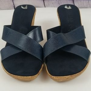 Italian Shoemakers navy blue wedge sandals size 9